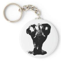 Black & White Elephant Pop Art Keychain