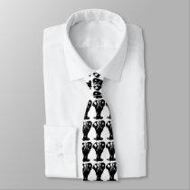 Black & White Elephant Pop Art Neck Tie