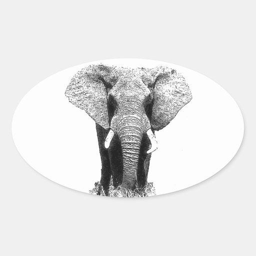 Black & White Elephant Oval Stickers