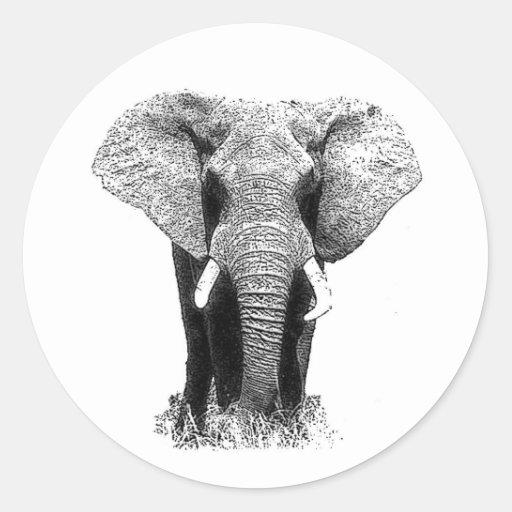 Black & White Elephant Round Sticker