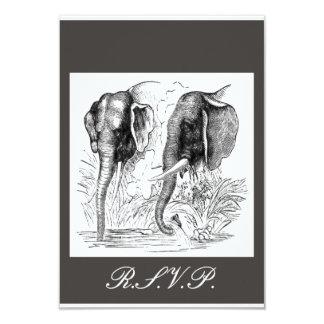 Black & White Elephant Wedding 3.5x5 Paper Invitation Card