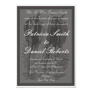 Black & White Elephant Wedding 5x7 Paper Invitation Card