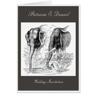 Black & White Elephant Wedding Card