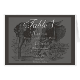 Black & White Elephant Wedding Table Number Card