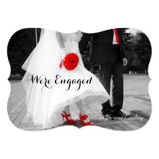 Black & White Engagement Announcement Photo Card