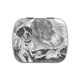 Black & White English Pointer Dogs Candy Tins