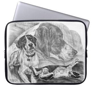 Black & White English Pointer Dogs Laptop Sleeve