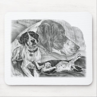 Black & White English Pointer Dogs Mouse Pad