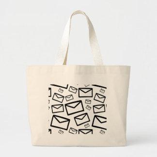 Black&white envelopes everywhere large tote bag