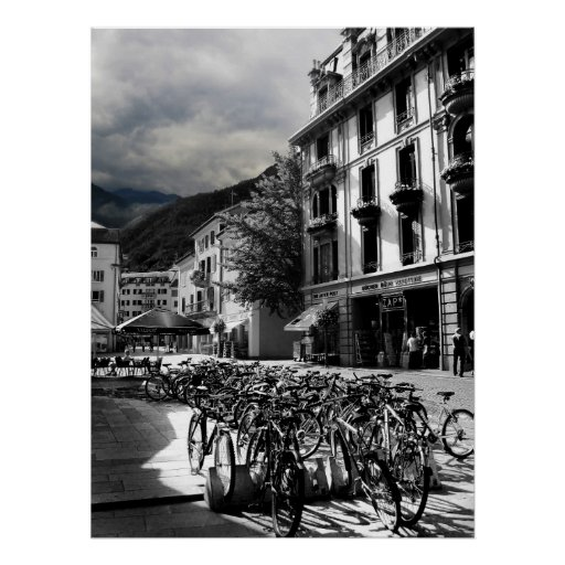 Black & White European Village Poster