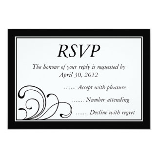 """Black & White Event Reply, RSVP or Response Cards 3.5"""" X 5"""" Invitation Card"""