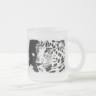 Black & White Eye of Leopard Frosted Glass Coffee Mug