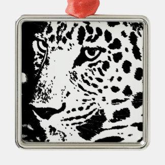 Black & White Eye of Leopard Metal Ornament