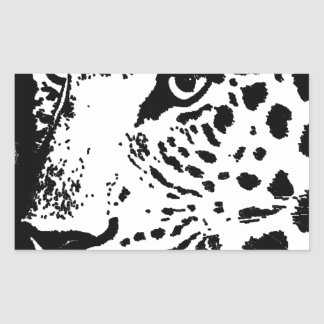 Black & White Eye of Leopard Rectangular Sticker