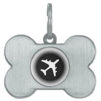 Black white fade airplane design pet ID tag