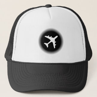 Black white fade airplane design trucker hat