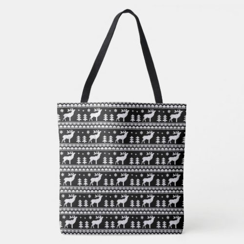 Black White Fair Isle Christmas Sweater Pattern Tote Bag