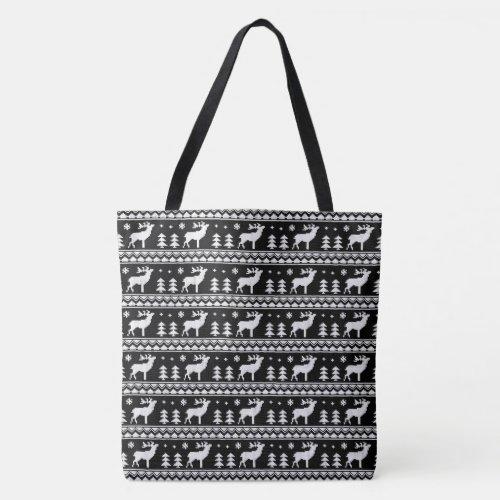 Black White Fair Isle Christmas Sweater Pattern Tote Bag