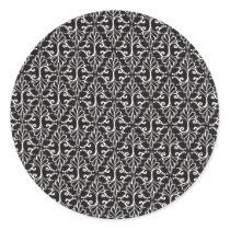 Black White Fancy Scrolls in Diamond Pattern Classic Round Sticker