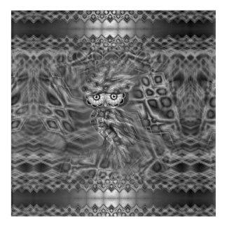 Black & White Fantasy Owl Camouflage Acrylic Wall Art