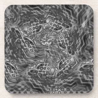 Black & White Fantasy Owl Camouflage Cork Coasters
