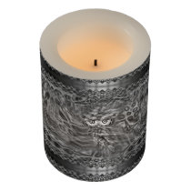 Black & White Fantasy Owl Camouflage LED Candle