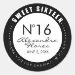 Black & White Fashion Sweet 16 Favor Label Sticker Round Sticker