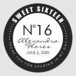 Black & White Fashion Sweet 16 Favor Label Sticker
