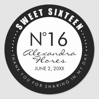 Black & White Fashion Sweet 16 Favor Label Sticker