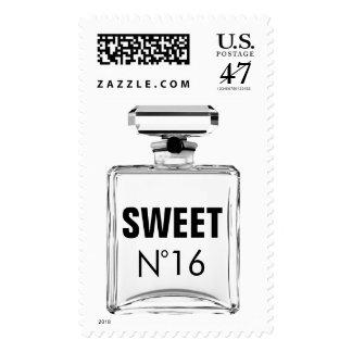 Black & White Fashion Sweet 16 Perfume Bottle Stamp