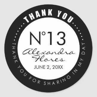 Black & White Fashion THANK YOU Sticker Label