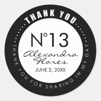 Black & White Fashion THANK YOU Sticker Label