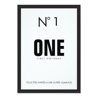 Black & White Fashion Theme 1ST Birthday Party Card