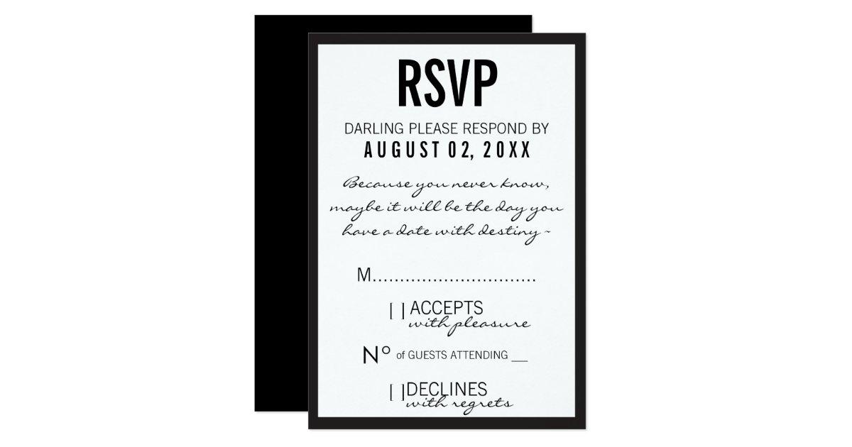 Black White Fashion Theme Party RSVP Card – Black and White Theme Party Invitations