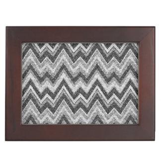 Black & White Faux Glitter Chevron Zigzag Pattern Keepsake Box