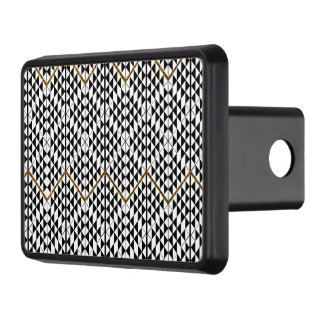 Black white faux gold glitter abstract pattern trailer hitch cover
