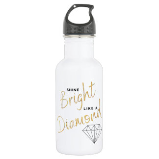 Black White Faux Gold Shine Bright  Diamond Script Water Bottle