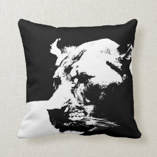 Black & white female lion pop art throw pillow