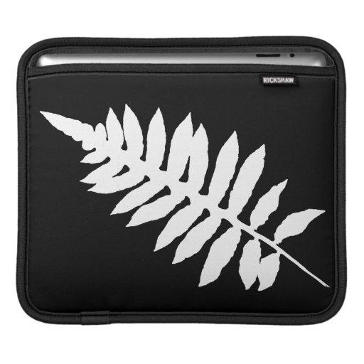 Black & White Fern Leaf Silhouette iPad Sleeve