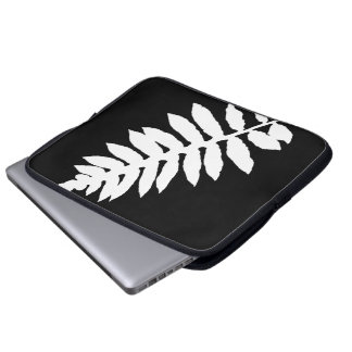 Black & White Fern Leaf Silhouette Laptop Sleeve