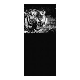 BLACK WHITE FEROCIOUS TIGER ROARING WILD ANIMALS C RACK CARD