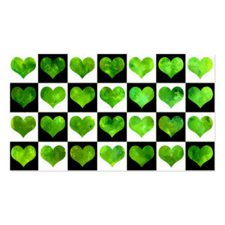 Black & White Field Of Green Hearts Business Card