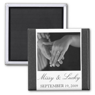 Black & White Filigree Save the Date Magnet