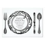 Black White Fine Dining Dinner Party Invitation