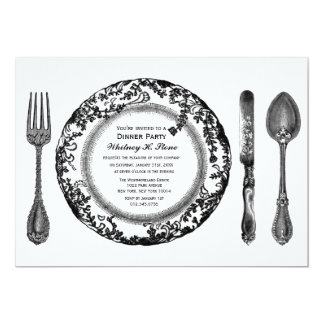 Black White Fine Dining Dinner Party 5x7 Paper Invitation Card