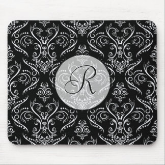 Black & White Fine Shading Pattern-Monogrmed Mouse Pad