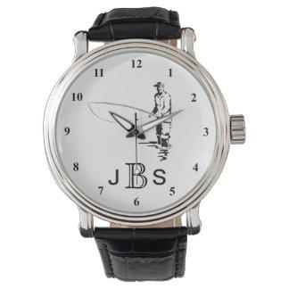 Black White Fisherman | Masculine Monogram Wristwatch