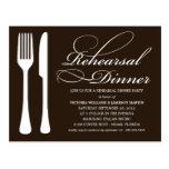 BLACK & WHITE FLATWARE | REHEARSAL DINNER INVITE POSTCARDS