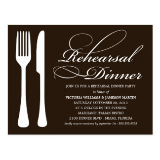BLACK & WHITE FLATWARE | REHEARSAL DINNER INVITE POSTCARD