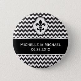 Black White Fleur de Lis Chevron Pattern Pinback Button